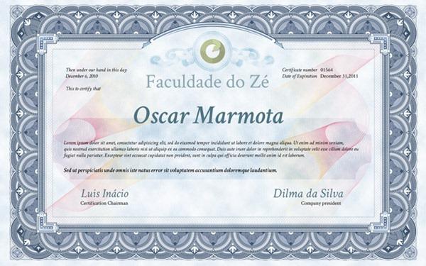 Photoshop–diploma, certificado de conclusão de curso em PSD para